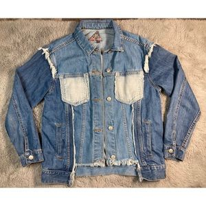S8 Signature Eight frayed denim patched up jacket